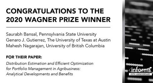 Research Team Recognized with INFORMS Daniel H. Wagner Prize for Solutions to Increase Efficiency in Production Planning in Agribusiness