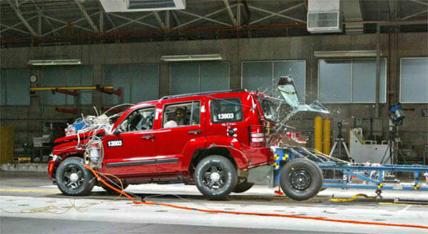 aftermath of a crash test involving a red suv