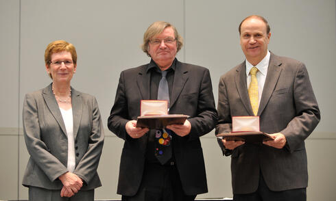 Susan Albin, INFORMS President, with John von Neumann Theory Prize recipients, Søren Asmussen and Peter Glynn
