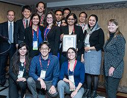Top row (l-r): David Hunt, Taewoo Lee, Justin Boutilier, Vahid Roshanaei, Peter Yun Zhang and Jonathan Lee. Second row (l-r): Kimia Ghobadi, Anna Graber-Naidich, Azadeh Mostaghel, Shefali Kulkarni- Thaker, Houra Mahmoudzadeh and L. Robin Keller. Front row (l-r): Derya Demirtas, Professor Timothy Chan and Professor Dionne Aleman.