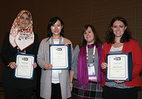 Hoda Atef Yekta (left), Ying Cao (second from left) and Michelle Alvarado (far right) received Childcare Awards.