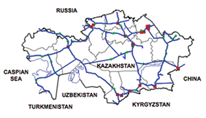 Figure 1: Map of the KTZ rail network.
