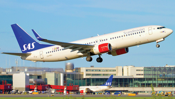 SAS jet takes off from Arlanda Airport in Stockholm, Sweden. The airspace around airports is where most congestion and delays occur.
