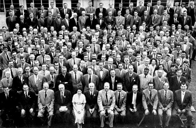 Leading participants at the first International Conference in Operational Research, Oxford, 1957. Among those sitting in the front row (from the far right to the center) are: E.L. Arnoff, David Hertz, Pat Rivett, George Dantzig, Philip Morse, Thornton Page and Sir Charles Goodeve.