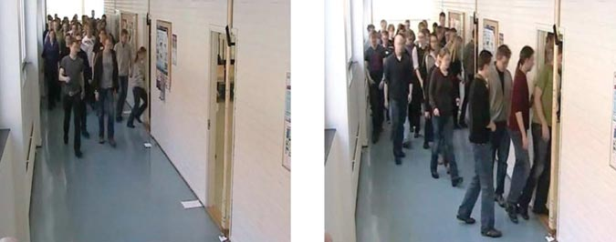 Figure 4: Snapshots of a trial of the experimental study on pedestrian behavior and exit selection in evacuation of a corridor.