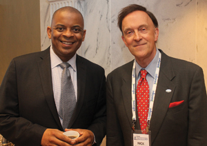 Keynote speaker Anthony Foxx and INFORMS President Nicholas Hall.