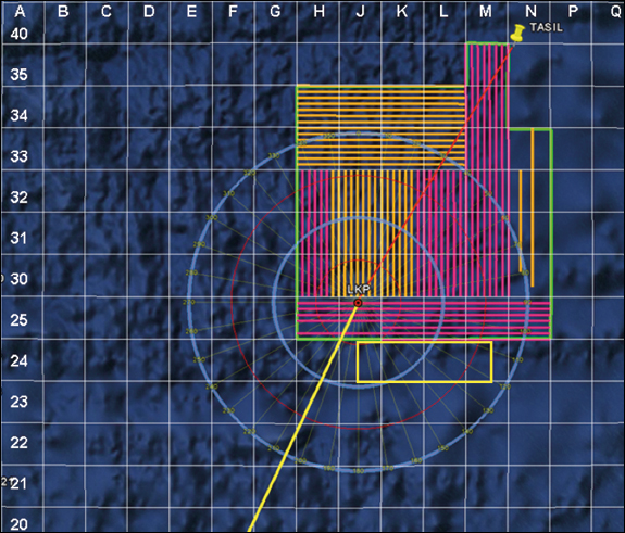 Figure 2: Fairmount Glacier (orange) and Fairmount Expedition (pink) search tracks. The blue circles are 20 NM and 40 NM circles about the LKP.