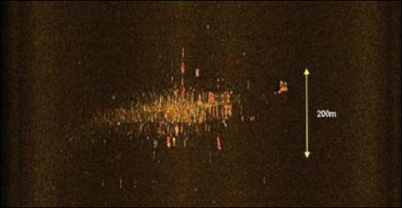Figure 6. Side-looking sonar image of wreckage.
