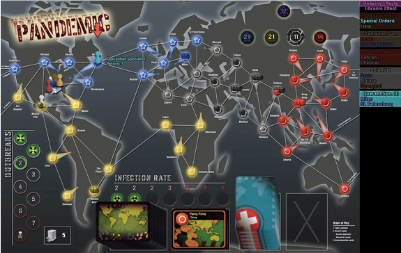 In Pandemic, participants are globetrotting disease experts fighting cooperatively to contain outbreaks and find cures.