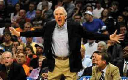 Mind games: San Antonio Spurs coach Gregg Popovich reacts to a call.