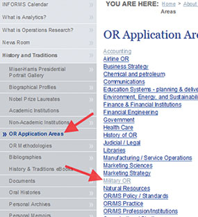 "Figure 5: Clicking on ""Applications Areas"" produces a list of areas where O.R. has historically been applied."