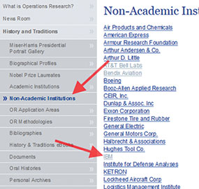Figure 4: Non-Academic links such as the one for IBM guides you to individuals associated with the institution.