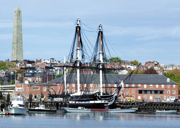 Old Ironsides and the Boston Harbor area.