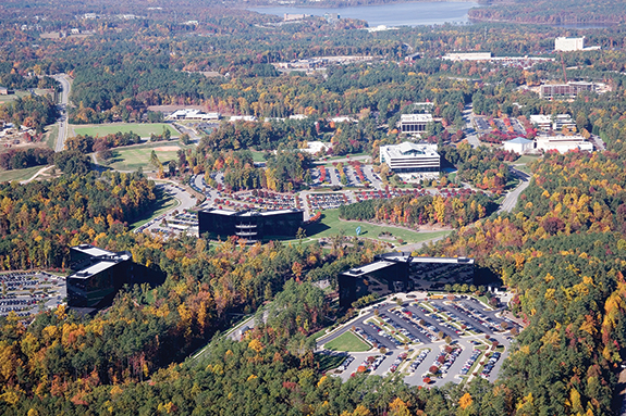 An aerial view of SAS' picturesque world headquarters campus in Cary, N.C.