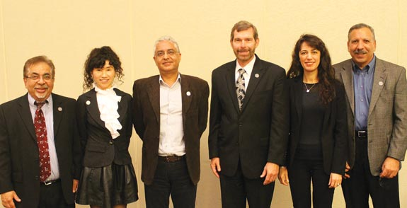 Jolly good Fellows (l-r) Pitu Mirchandani, Eva K. Lee, Rakesh V. Vohra, C. Allen Butler, Pinar Keskinocak and Jack Levis.