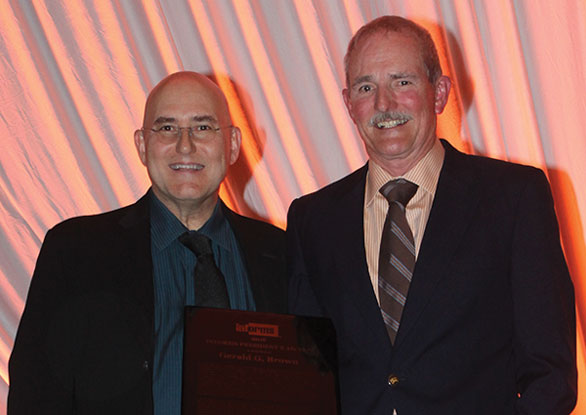 INFORMS President Ed Kaplan (left)) and President's Award recipient Gerald Brown.