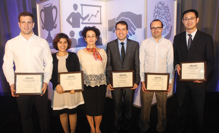 Dantzig dissertation (l-r): Ian Osband (second place), Negin Golrezaei (winner), Wedad Elmaghraby (presenter) and Mehdi Behroozi, Alvaro Lorca and Rong Yuan (all honorable mention).